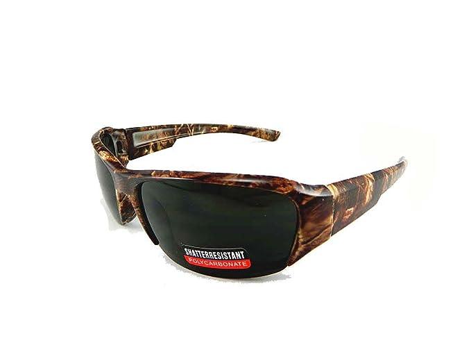 62cf1b6dce New Hunting Camouflage Sports Wraparound Half Frame Sunglasses - Grey Lens  (Brown Camo)