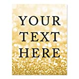 Andaz Press Fully Personalized Wedding Party Signs, Glitzy Gold Glitter, 8.5x11-inch Wall Art, Poster, Gift, Your Text Here, 1-Pack, Bokeh Colored Party Supplies, Custom Made Any Text