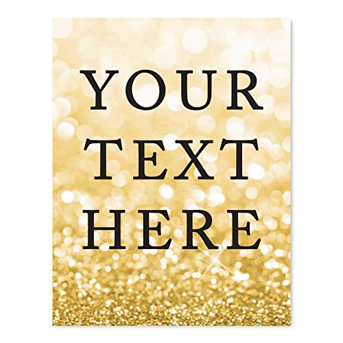 Andaz Press Fully Personalized Wedding Party Signs, Glitzy Gold Glitter, 8.5x11-inch Wall Art, Poster, Gift, Your Text Here, 1-Pack, Bokeh Colored Party Supplies, Custom Made Any Text by Andaz Press