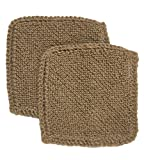 Toockies Hand knit Organic Jute Scrub Cloths in Vintage Dish Cloth Pattern- 2 pack