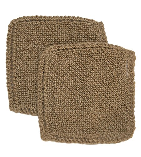 Toockies Hand knit Organic Jute Scrub Cloths in Vintage Dish Cloth Pattern- 2 pack