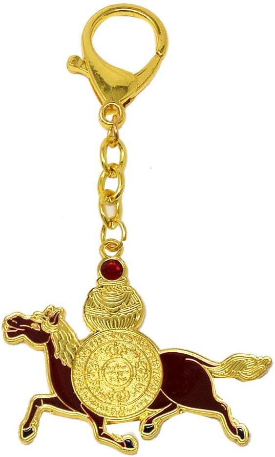 juanxian Feng Shui W4139 - Llavero con Amuleto de la Fuerza de la Vida con Caballo de Viento Rojo