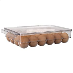 Home Basics Stackable Egg Holder for Refrigerator, Clear (1, 24 Egg Holder)