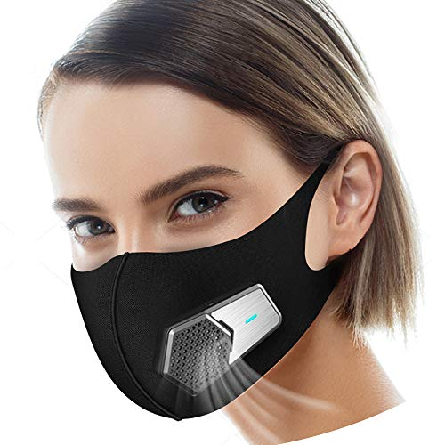 Smart Electric Masks Fresh Air Purifying Mask Anti Pollution Mask N95 for Exhaust Gas, Pollen Allergy, PM2.5, Running, Cycling and Outdoor Activities (Black, mask) by ruishenger