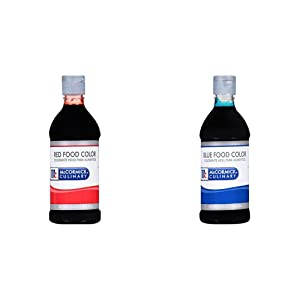 McCormick Culinary Red Food Color, 16 fl oz, Premium Quality, Consistent Color, Perfect for Valentine's with McCormick Culinary Blue Food Color, 1 pt