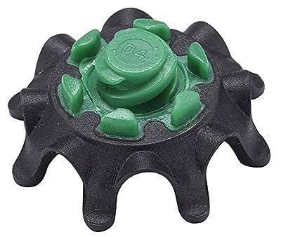 Gracefulvara 14Pcs Soft Golf Shoes Spikes Metal Thread Studs Replacement Black&Green
