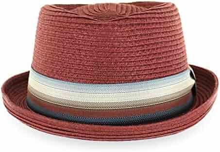 e982acd831b69 Belfry Men Women Summer Straw Pork Pie Trilby Fedora Hat in Blue Tan Black