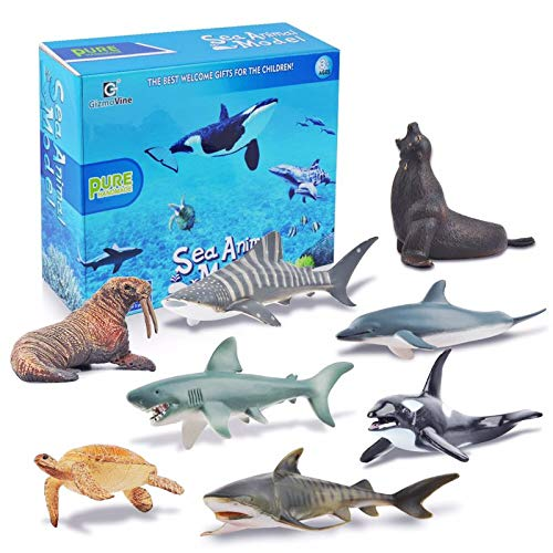 (Gizmovine Animals Toys Shark Toy Sea Animal Toys for Kids Plastic Animals Figurines Pool Toys for Toddlers Kids Bath Toys Boys and Girls (Sea Animal Set))
