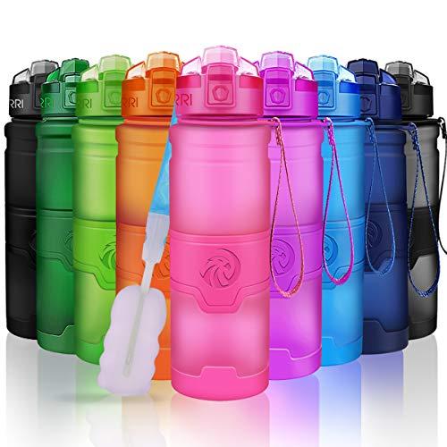 ZORRI Sport Water Bottle Kids, 700ml/24oz - Bpa Free Eco-Friendly Tritan Plastic, Reusable Drinks Water Bottles Filter, Leak Proof Flip Top, Open 1-Click Gym, Yoga, Running