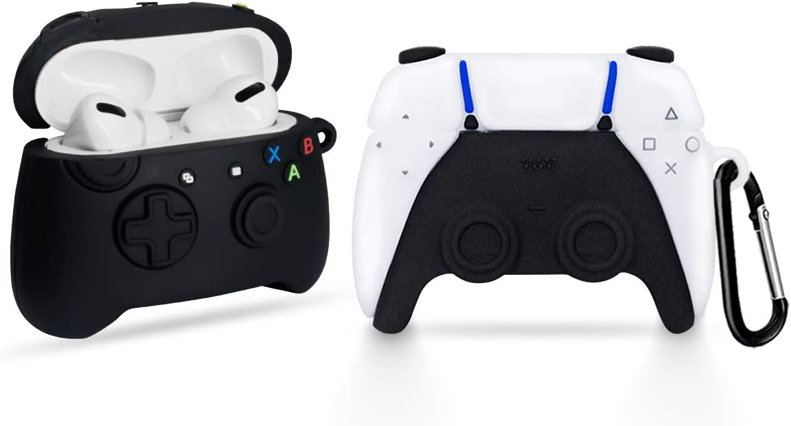 [2Pack] Game Controller Airpods Pro Case for AirPods 3, 3D Cute Fashion Cool Design Airpods Pro Cover, Unique Stylish Funny Protective Skin Accessories Airpod Pro Silicone Case for Boys Girls Men