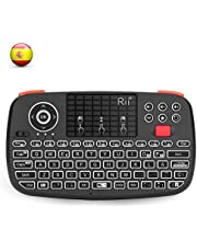 Rii i4 Mini bluetooth teclado inalámbrico retroiluminado, 2 en 1 (Bluetooth & Wireless 2.4 GHz), Qwerty español, para iOS, Android.,Windows