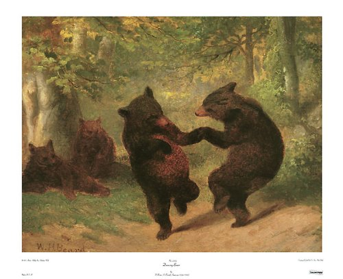 Dancing Art Poster - Dancing Bears Art Print Poster by William H. Beard, Overall Size: 30x24, Image Size: 28x22