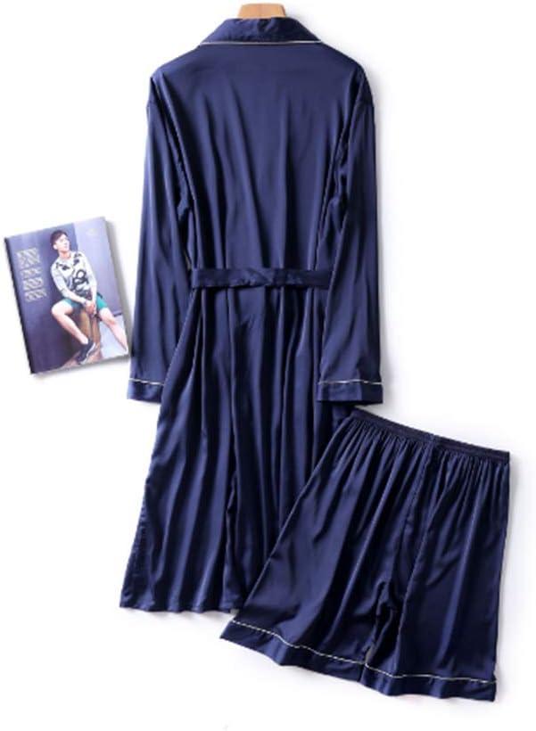 DUJUN Vestido Kimono Corto Pijama Bata Satén Seda de Hielo Bata Albornoz,Seda de Hombre Suave y Lisa Azul Marino L: Amazon.es: Hogar