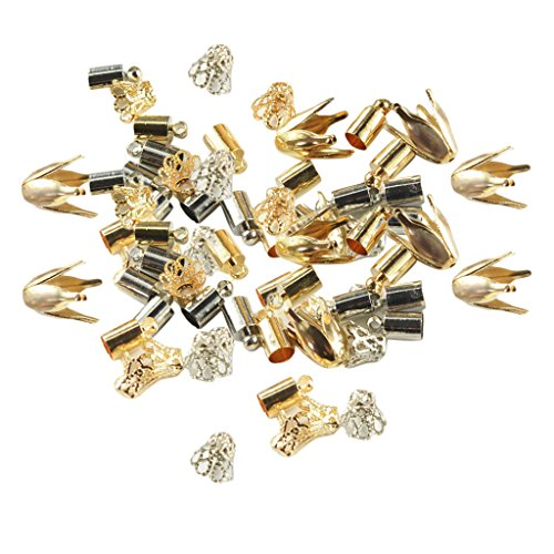 D DOLITY 100 Pieces Assorted Filigree Flower Metal Bead Caps Cord End Spacer Diy Jewelry Crafts ()