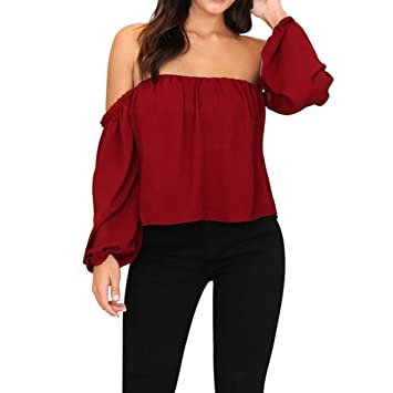 HOSOME Women Top Women Off Shoulder Casual Solid Long Sleeve Tops Blouse T-Shirt