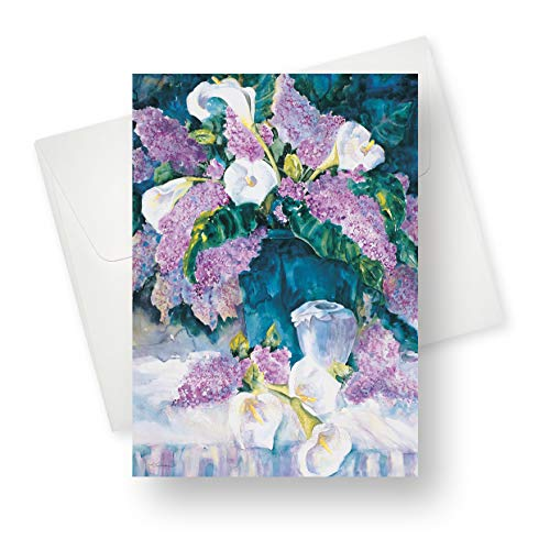 (12 Pack) Lilies and Lilacs All Occasion Greeting Card - Premium Quality with Unique Designs - for Boys, Girls, Men, Women, and Adults - 5.5