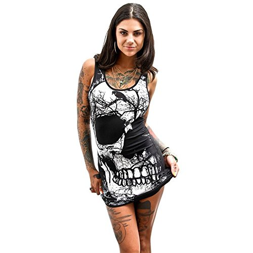 Women's Sleeveless Skull Printed Dress,FUNIC Summer Vintage Vest Dress Casual Dress (Large, Black) (Big Dressers For Sale)