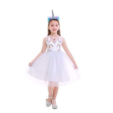 0423d56d74d5d Girls Unicorn Party Costume Flower Cosplay Wedding Halloween Fancy Princess  Dress Photo Shoot
