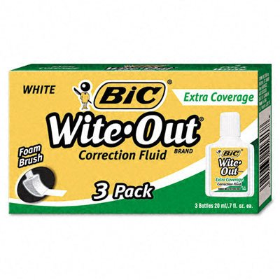Wholesale CASE of 25 - Bic Extra Coverage Wite-Out Brand Correction Fluid-Correction Fluid, Extra Coverage Formula, 20ml, 3/BX, White
