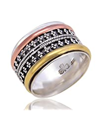 Energy Stone Tri-Color Articulated Beads Sterling Silver Meditation Spinning Ring with 1 Silver 1 Brass and 1 Copper Spinners (Style# SRA37)