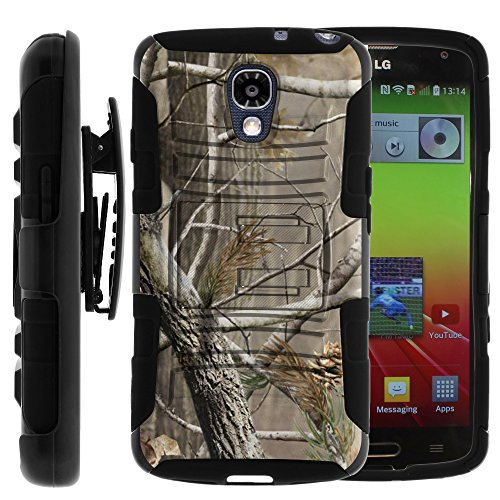 LG Volt Case, LG Volt Holster, Two Layer Hybrid Armor Hard Cover with Built in Kickstand and Unique Graphic Images for LG Volt F90, LS740 (Sprint, Boost Mobile, Virigin Mobile) from MINITURTLE | Includes Screen Protector - Hunter Camouflage