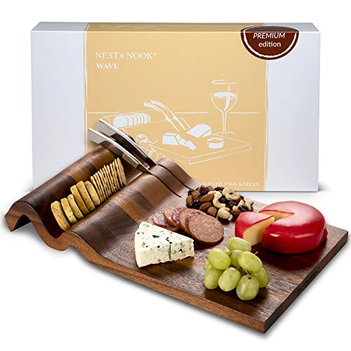 Cheese Board and Knife Set | Large Charcuterie Board with 2 Stainless Steel Knives - For Serving Cheeses, Meats, Crackers, and Wine. Great Wedding Gift or Housewarming Present. Acacia Wood