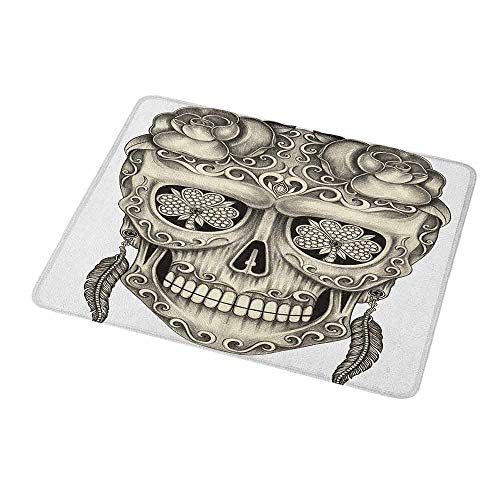 Gaming Mouse Pad Day of The Dead,Spanish Sugar Skull with Roses Dragonfly Eyes Feather and Earrings Artwork,Grey Ivory,Custom Non-Slip Mouse Mat 9.8