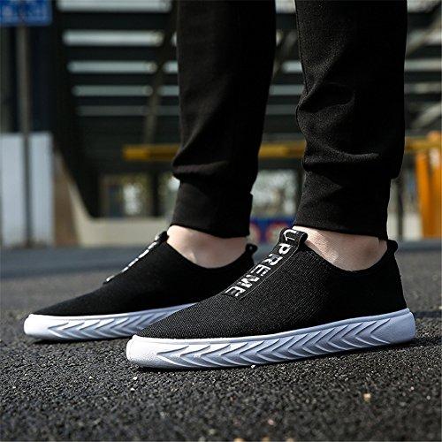 HUAN Hommes Chaussures Tricot Printemps Automne Confort Athlétique Chaussures de Course Pour Athlétique Décontracté Respirant en Plein Air Exercice Sneakers Rouge Noir Black nXshVECR6L