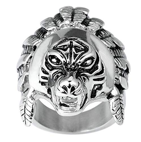 AMDXD Jewelry Stainless Steel Wedding Band Men Wedding Ring Tiger Silver Black Rings Size 12