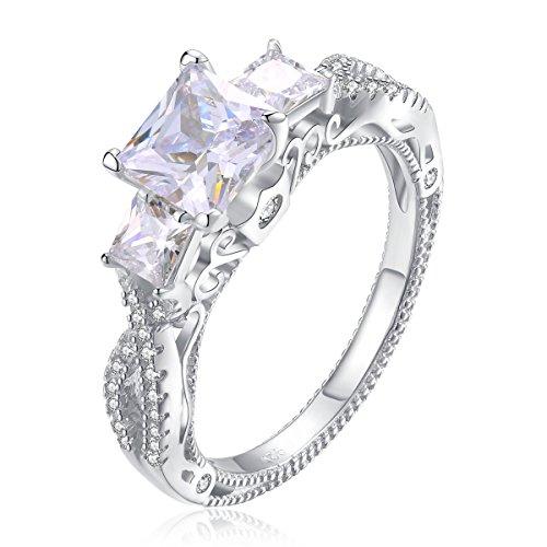 Newshe Three Stone Princess Cut White Cz 925 Sterling Silver Wedding Engagement Ring Size 6