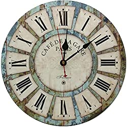 RELIAN 13.5 Inch Vintage Wall Clock, Battery Operated Wall Clock, Large Roman Numbers, Wooden Kitchen Clock for Farmhouse, Living Room, Bedroom, Bathroom and Office - Rustic Vintage Style