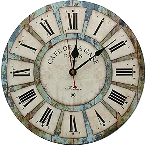 RELIAN Decorative Wall Clock 12-Inch Vintage Rustic Silent Non Ticking Wood Round for Living Room Bathroom Kitchen Bedroom - French Country Living Room Furniture