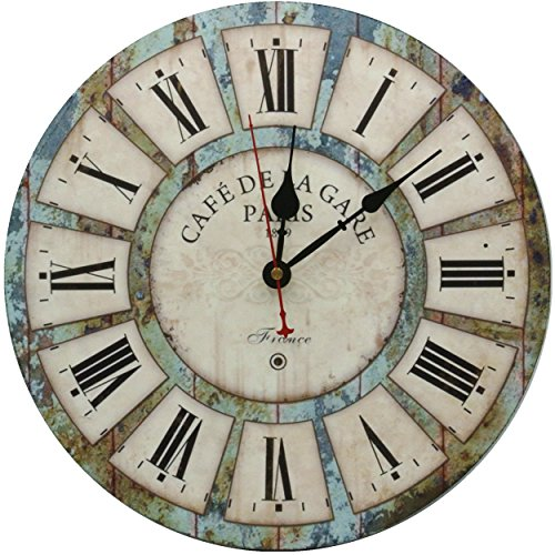 RELIAN 13.5 Inch Large Wall Clock, Rustic Vintage Design, Non Ticking Quartz, Battery Operated, Wooden Round Home Decoration Wall Clock for Farmhouse, Kitchen and Bathroom