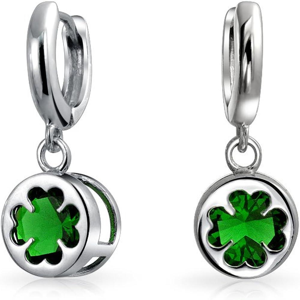 Suerte Irlandesacelta De Trébol De Cuatro Hojas Colgante Pendiente De Gota De Vidrio Verde Para Mujer De Graduación 925