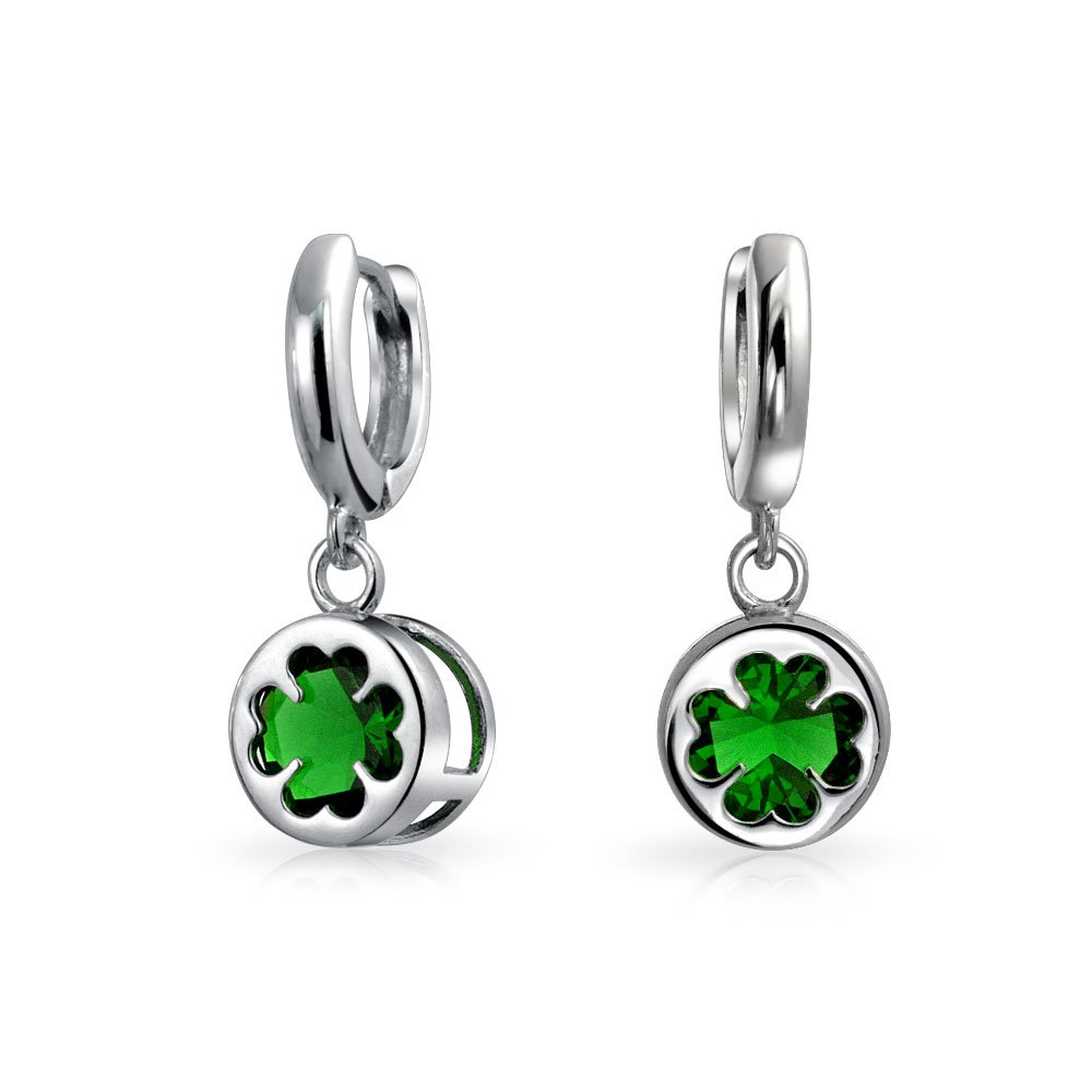 Sterling Silver Four Leaf Clover Green Glass Drop Earrings Bling Jewelry MDR-3421E-004