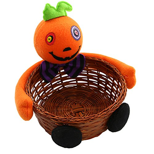 - Zehui Compote Kids Candy Bag Rattan Basket Bucket Pumpkin Wolf Plush Dolls Trim Compote Halloween Holiday Party Decor B Pumpkin