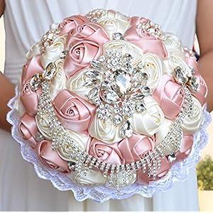Dia 23CM European Crystal Rhinestone Handmade Wedding Bouquet Artificial Ribbon Flower Bride Hold Flower Bouquet 10