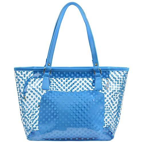 y Color Polka Dot Clear Beach Tote Shoulder Handbag (Sky Blue) ()
