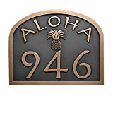 Aloha Address Plaque with Pineapple 12 X 9.5 - Raised Bronze Coated - Handcrafted by Atlas Signs and Plaques | USA Made