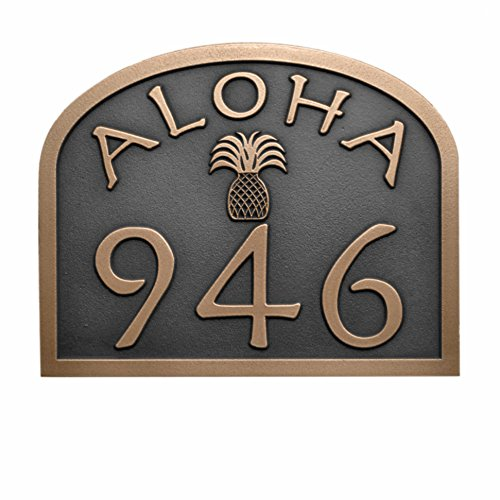 aloha-address-plaque-with-pineapple-12-x-95-raised-bronze-coated-handcrafted-by-atlas-signs-and-plaq