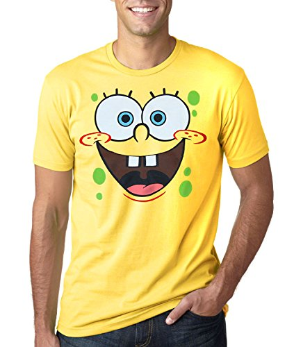 SpongeBob SquarePants Face Adult T-Shirt-Large Yellow]()