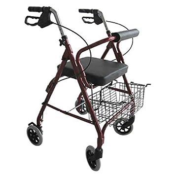 Andador plegable 4 ruedas, con cesta y asiento - Obea ...