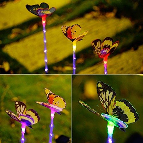 Garden Solar Lights Outdoor - 3 Pack Solar Stake Light Multi-color Changing LED Garden Lights, Fiber Optic Butterfly Decorative Lights, Solar Powered Stake Light with a Purple LED Light Stake …