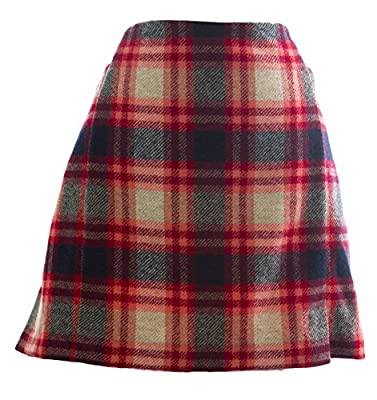 BODEN Women's Plaid British Tweed Mini Skirt US Sz 12S Red Multicolored