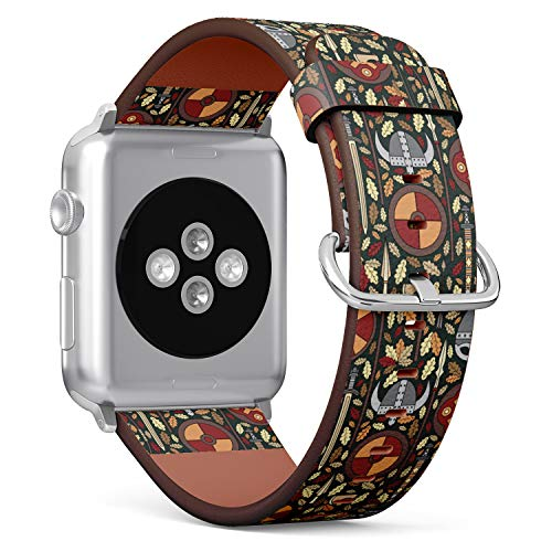 (Viking Pattern with Helmet, Sword, Spear and Shield) Patterned Leather Wristband Strap Compatible with Apple Watch Series 4/3/2/1 gen,Replacement of iWatch 38mm / 40mm Bands ()
