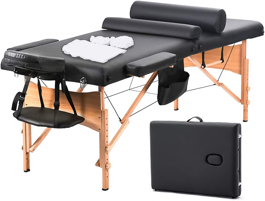 BestMassage Massage Table Massage Bed Spa Bed 73 Inch Heigh Adjustable 2 Fold Portable Massage Table W Sheet Cradle Cover 2 Bolster Hanger Facial Salon Tattoo Bed