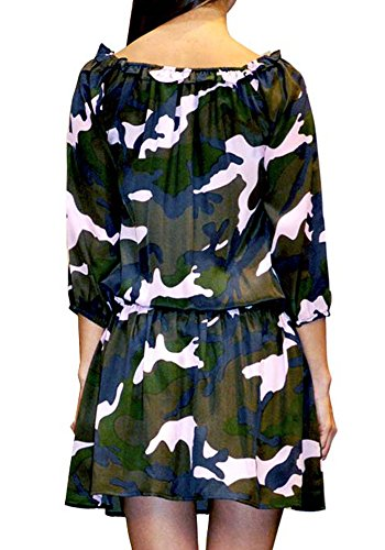 Frau Nicole Bedrucktes Seide Tarnung Ana Milano 100 Kleid Pires wq7nxgI