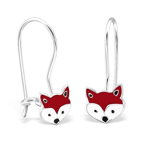 d0d635e13f278 Amazon.com: Cute Fox Dangle Earrings Kids Girls Childrens Enamel ...
