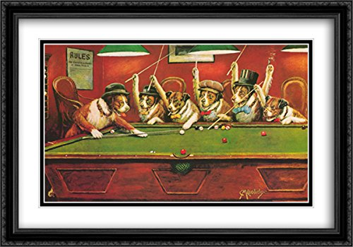 Dogs Playing Pool 2x Matted 40x28 Large Black Ornate Framed Art Print by Cassius Marcellus (Coolidge Dogs Playing Pool)