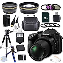 Panasonic Lumix DMC-FZ1000 4K QFHD/HD 16X Long Zoom Digital Camera (Black) Bundle + 32GB Accessory Kit, Package Includes: Wide Angle & Telephoto Lenses + 7 High Quality Filters + Tripod + Case & More